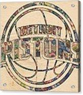 Detroit Pistons Poster Art Acrylic Print