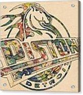 Detroit Pistons Retro Poster Acrylic Print