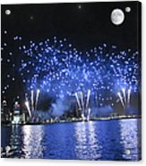 Detroit River Fireworks Acrylic Print by Michael Rucker