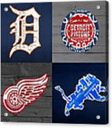 Detroit Sports Fan Recycled Vintage Michigan License Plate Art Tigers Pistons Red Wings Lions Acrylic Print