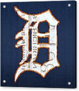 Detroit Tigers Baseball Old English D Logo License Plate Art Acrylic Print