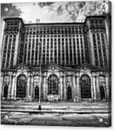 Detroit's Abandoned Michigan Central Train Station Depot In Black And White Acrylic Print