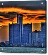 Detroits Sky Acrylic Print by Nicholas  Grunas