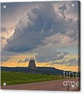 Devils Tower On The Horizon At Sunset Acrylic Print
