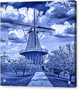 deZwaan Holland Windmill in Delft Blue Acrylic Print