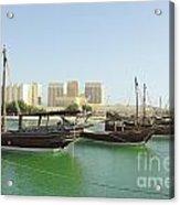 Dhows And Doha Port Buildings Acrylic Print