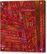 Diagonal Tiles In Reds Acrylic Print