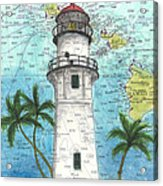 Diamond Head Lighthouse Hi Nautical Chart Map Art Acrylic Print