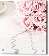 Diamond Necklace And Pink Roses Acrylic Print