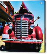 Diamond T Truck - Tomato Red Acrylic Print