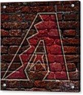 Diamondbacks Baseball Graffiti On Brick  Acrylic Print by Movie Poster Prints