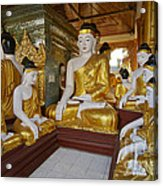 different sitting Buddhas in a circle in SHWEDAGON PAGODA Acrylic Print
