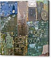 Digital D N A - Circuit Board Statue Acrylic Print
