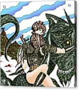 Digital Dragon Rider Colour Version Acrylic Print