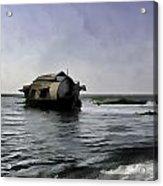 Digital Oil Painting - A Houseboat Moving Placidly Through A Coastal Lagoon Acrylic Print