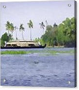 Digital Oil Painting - A Houseboat On Its Quiet Sojourn Through The Backwaters Of Allep Acrylic Print