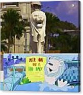 Digital Oil Painting - Statue Of The Merlion With A Banner Acrylic Print