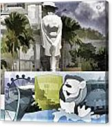 Digital Oil Painting - Statue Of The Merlion With A Banner Below The Statue And With Bu Acrylic Print