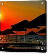 Digital Painting Of Beach Umbrellas At Sunset Acrylic Print