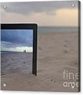 Digital Tablet In Sand On Beach Acrylic Print by Sami Sarkis