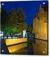 Dijver Canal At Night  Acrylic Print