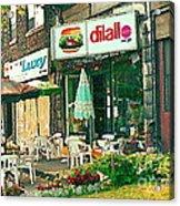 Dilallo Burger Diner Paintings Originalclassic Vintage Burger Joint St Henri St Catherine Cityscene  Acrylic Print