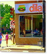 Dilallo Notre Dame Ouest And Charlevoix Sunny Street Montreal Urban City Scene Carole Spandau Acrylic Print