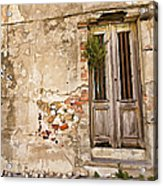 Dilapidated Brown Wood Door Of Portugal II Acrylic Print by David Letts
