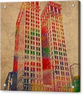 Dime Building Iconic Buildings Of Detroit Watercolor On Worn Canvas Series Number 1 Acrylic Print by Design Turnpike