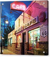 Diner Along Route 66 At Dusk Acrylic Print