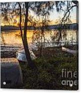 Dinghies On Shoreline Acrylic Print