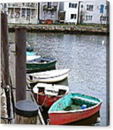 Dinghies Wait At The Pier Acrylic Print