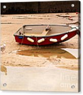 Dinghy At Low Tide In St Ives Cornwall Acrylic Print