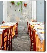 Dining Alfresco In Italy Acrylic Print by Annie  DeMilo
