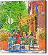Dinner On The Terrace Le Murphy Boire Et Manger French Bistro Montreal Cafe Street Scene Acrylic Print