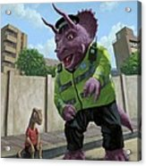 Dinosaur Community Policeman Helping Youngster Acrylic Print