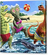 dinosaur fun playing Volleyball on a beach vacation Acrylic Print