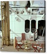 Directors Chairs In Front Of The Ship The Queen Acrylic Print