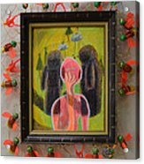 Disappearance Of The Woman And Her Own Two Stone Children With Clouds On Wheels - Framed Acrylic Print