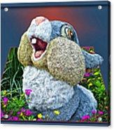 Disney Floral 05 Thumper Blue Acrylic Print
