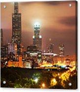 Distant Lights - Chicago Illinois Skyline Acrylic Print