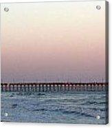 Distant Pier Sunset Acrylic Print