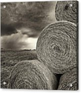 Distant Thunderstorm Approaches Hay Bales E90 Acrylic Print