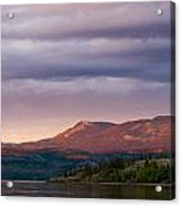 Distant Yukon Mountains Glowing In Sunset Light Acrylic Print