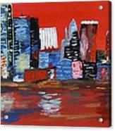 Distorted Dallas Skyline Acrylic Print