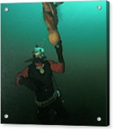 Diver With Giant Octopus Octopus Acrylic Print