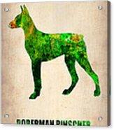 Doberman Pinscher Poster Acrylic Print by Naxart Studio