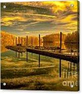 Dock Reflections-golden Acrylic Print