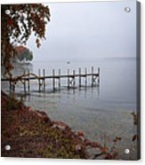 Dock On A Lake In Autumn Acrylic Print