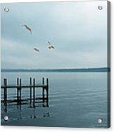 Dock On A Moody Lake Acrylic Print